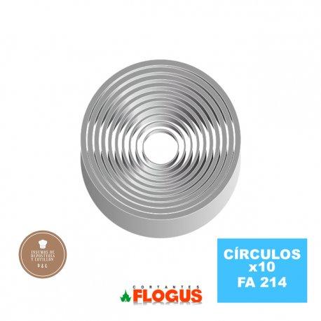 FLOGUS Cortante Metalico - Circulos Set X10 (1 cm alto)