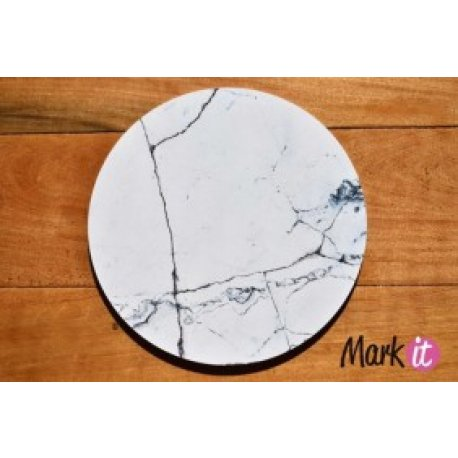 Base Redonda Marmol Blanco para Torta Vinilo 25 cm x 5 mm.
