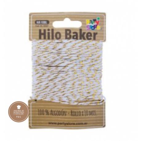 Hilo de Algodon Blanco y Dorado x 10 mt.
